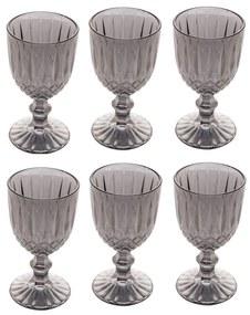 Jogo Taças Para Vinho 6 Peças Vidro Imperial Cinza 245ml 28243 Bon Gourmet