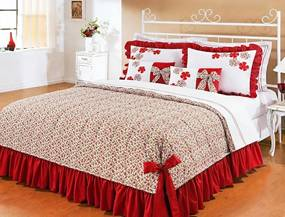 Colcha de Cama Super King Doce Lar Vermelho em AlgodÁo 150 fios com 07 peças - Colcha Doce Lar - Bernadete Casa,