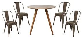 Conjunto Mesa Square Redonda Bétula 88cm + 4 Cadeiras Tolix Ferrugem Vintage