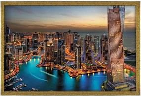 Quadro Love Decor Com Moldura New Dubai Dourado  Médio