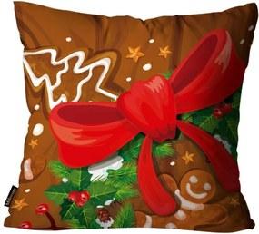 Capa para Almofada Premium Cetim Mdecore Natal Laço Marrom 45x45cm