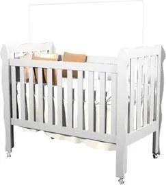 Berço Americano Mini-Cama 3 em 1 Lila Branco - Carolina Baby