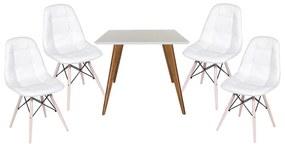 Conjunto Mesa Square Quadrada Branco 90x90cm + 4 Cadeiras Eiffel Botonê Branca