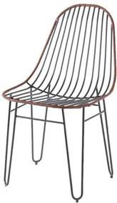 Cadeira Invisi Trama Couro Natural Caramelo Base Preta 45 cm (LARG) - 41426 Sun House