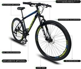 Bicicleta Aro 29 Quadro 19 Aço 21 Marchas Suspensão Freio a Disco Mecânico Preto/Amarelo/Azul - Dropp