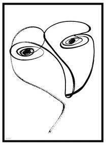 Quadro Decorativo Minimalista Abstrato Curvas Preto e Branco - CZ 44084