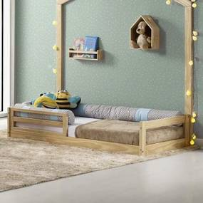 Mini Cama Montessoriana Graciosa Natural com Grade - Casatema