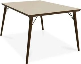 Mesa de Jantar para 4 Lugares,Tampo de Vidro Creme, Walnut, Gaia