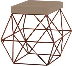 Puff Decorativo Sala de Estar Base Bronze Trixie Suede Cappuccino - Gran Belo