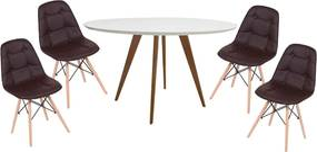 Conjunto Mesa Square Redonda Branco Fosco 88cm + 4 Cadeiras Eiffel Botonê - Marrom