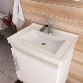 Kit Banheiro Gabinete Suspenso Pia e Armário com Espelho Econômica Branco/Nogal - Bosi