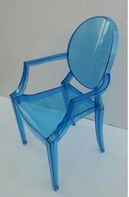 Cadeira Louis Ghost com Braco Azul Translucido- 18119 Sun House