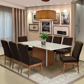 Conjunto Mesa Jade 2,08 m Off White + 8 Cadeiras Lara Aveludado Marrom