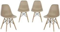 Kit 04 Cadeiras Eiffel Charles Eames Nude F01 com Base de Madeira DSW