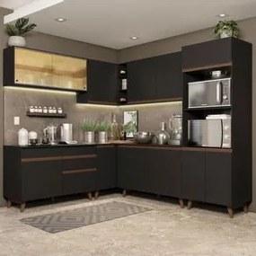 Cozinha Completa de Canto Madesa Reims 452001 com Armário e Balcão Preto Cor:Preto