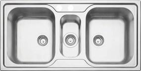 Cuba de sobrepor em aço inox acetinado 2 cubas + auxiliar 100x50 cm - Prime - Tramontina