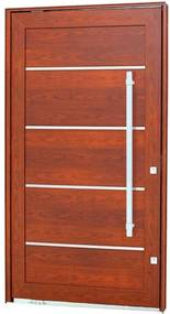 Porta Pivotante Lambris Horizontais com Friso e Puxador Alumínio Madeira 243,5x146,2x12cm Direita Aluminium - 72461118 - Sasazaki - Sasazaki