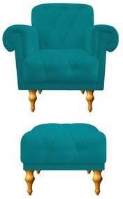 kit Poltrona e Puff Decorativos Dani Suede Azul Turquesa - ADJ Decor