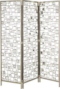 Biombo com Detalhes Espelhado 3 Asas - 150x181cm