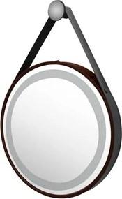 Espelho Cobre Couro Marrom Led 72W 2700/4000K Ø60 Cm Jules