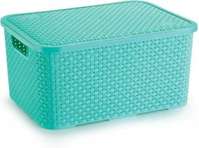Caixa Organizadora de Plástico Rattan Grande Com Tampa Verde