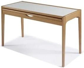 Mesa de Jantar Extensível 54cm até 108cm com Vidro Fendi Claro/Amêndoa