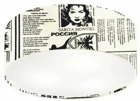 Plafon Cilíndrico Md-3046 Cúpula em Tecido 35x12cm Ny-Jornal - Bivolt