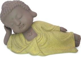 Estátua Monge Deitado em Cerâmica (18cm) - Amarelo Cádmio