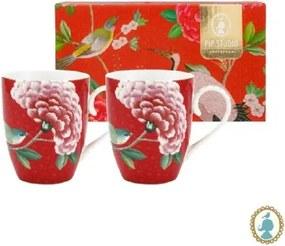 Set/2 Caneca Grande Vermelho - Blushing Birds - Pip Studio