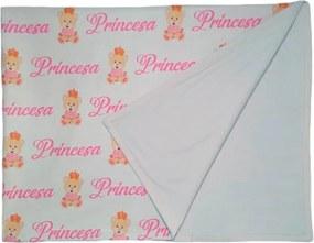 Manta de Bebê Ursinha Princesa Cobertor Dupla Face Branco  Calupa