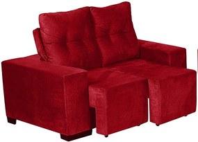 Sofá Retrátil E Reclinável Omega 1,52 Mts Tecido Suede Vermelho - Moveis Marfim