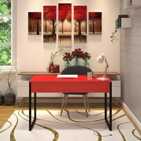 Mesa em Metal com tampo de Aço Colorido | Tam: 80x60cm |Cor: Vermelho e Preto