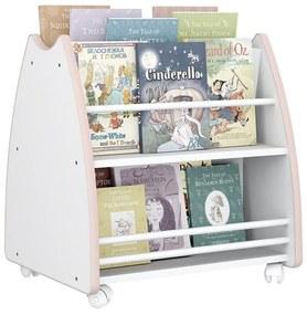 Biblioteca Porta Livros Infantil Abraço De Mãe 4 Rodízios - Branco/rosa