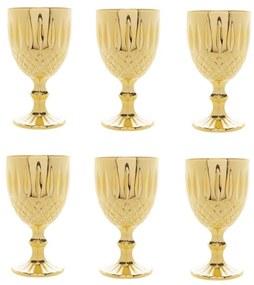 Jogo Taças Vidro Para Água 6 Peças Greek Dourado 345ml 28351 Bon Gourmet