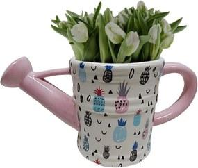 Vaso de Cerâmica Branco Regador Pineapple Urban Home