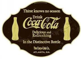 Placa Coca Cola Sede Não Tem Hora Marrom e Branco Placa Decorativa Coca Cola Sede Não Tem Hora