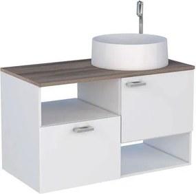 Gabinete para Banheiro 80cm MDF Iara Branco com Tamarindo sem cuba 79,6x47,8x41cm - Cozimax - Cozimax