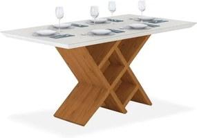 Mesa Sibéria Sala de jantar 6 lugares com tampo chanfrado e vidro ( 1,70 x 0,90 ), Padrao - Carvalho Americano/Vidro Off White