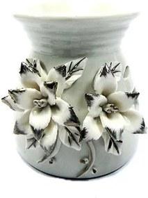 Aromatizador em Cerâmica com Flores Brancas (9cm)