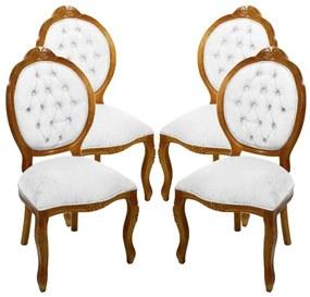 Conjunto 04 Cadeiras de Jantar Medalhão Entalhada Sem Braço - Wood Prime 644986 Liso