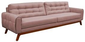 Sofá 3 Lugares Sala de Estar Eros 230 cm Veludo Rosê Base Fixa - Gran Belo
