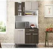 Cozinha Compacta Carol 06 Portas Branco Rovere Amendoa Poliman