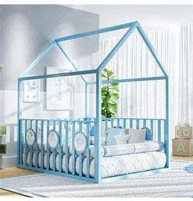 Cama Infantil Montessoriana Azul com Grade Grão de