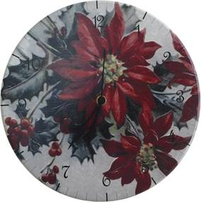 Relógio de Parede Flor de Natal em Madeira MDF - 28 cm