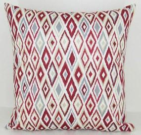 Capa almofada LYON Veludo estampado Losangos Vermelho 50x50cm