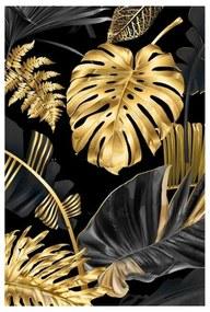 Quadro Decorativo Folhas Dourado e Preto 1 - KF 49224 40x60 (Moldura 520)