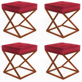 Kit 4 Puffs Decorativos Tokyo Quadrado Base de Ferro Bronze Suede Vermelho