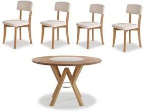 Conjunto Petani Mesa Tampo Giratorio Vidro Branco + 4 Cadeiras Estofado Branco 120cm - 59618 Sun House