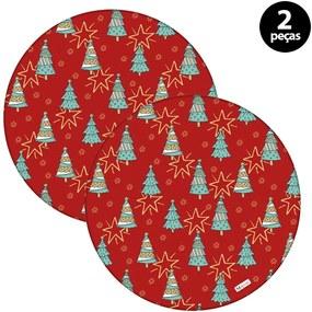 Capa para Sousplat Mdecore Natal Arvores de Natal Vermelho2pçs