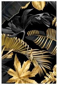 Quadro Decorativo Folhas Dourado e Preto 2 - KF 49233 40x60 (Moldura 520)